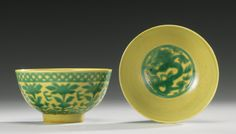 TWOYELLOW AND GREEN-GLAZED BOWLS, KANGXI MARK AND PERIOD   Lot   Sotheby's