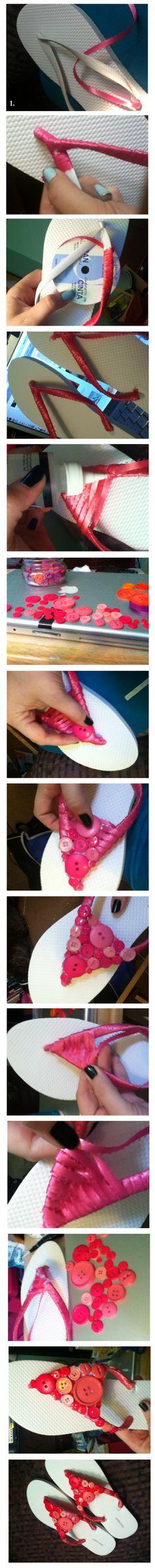 DIY button flip flops found at heyheyheatherk.wordpress.com