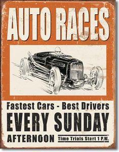 Vintage Auto Races 16 x 12 Nostalgic Metal Sign | Man Cave Kingdom