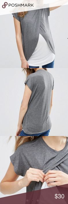 ASOS Maternity Nursing T-Shirt w/Wrap Overlay Brand new never been used...   Soft-touch jersey Round neckline Double layer design ideal for nursing Wrap front Regular fit - true to size Designed to fit during and post pregnancy 100% Viscose Asos Tops Tees - Short Sleeve