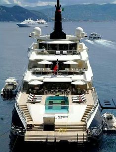 SUPERB YACHTS -         ALFA NERO $ 130M.... The pool can be covered to become an helicopter pad... Always available for this. #YachtLife