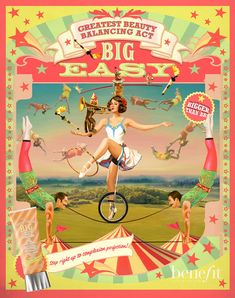 This is an ad for Benefit Cosmetics new BB Cream, Big Easy. This was illustrated/oil- painted by Bruce Emmett. It conveys a message that this BB cream is bigger and better than its competitors. Illustrated people have smoother skin, which is more applicable for a foundation advertisement.