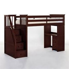 loft bed with stairs - front faces a wall, add bars for clothes under bed, create partition on back toward living room space.