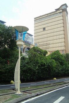 Solar-Powered Streetlight Can Issue Flood Warnings, Kill Mosquitos, and Charge Cell Phones  EcoBuilding Pulse Magazine   Lighting, Lighting Design, Lighting Designers, Solar Power, Wind Power, Urban Design, Urban Development
