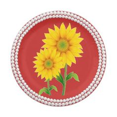 Sunflower Sunshine Pearl Paper Plates - floral style flower flowers stylish diy personalize
