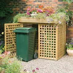 Utility boxes, lawn equipment and trash bins are necessities, but they don't des. - Utility boxes, lawn equipment and trash bins are necessities, but they don't deserve to share the - Lawn Equipment, Woodworking Projects Diy, Diy Projects, Woodworking Plans, Learn Woodworking, Woodworking Workshop, Woodworking Furniture, Outdoor Projects, Furniture Plans