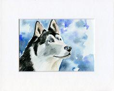 Siberian Husky Painting Original Watercolor Dog Art size 5 x