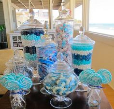 blue candy table - I would like to do this in pink may for sweet sixteen party!