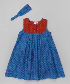 Loving this Blue & Red Floral Babydoll Dress & Headband - Toddler & Girls on #zulily! #zulilyfinds