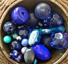 Vintage blue bead mix   mixed lot  drw825  jewelry by pinksupply, $4.50