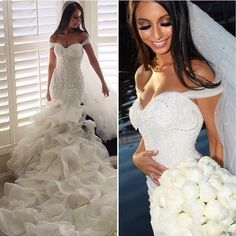 Glamorous 2016 Fashion Mermaid Wedding Dresses Tiered Skirts Off The Shoulder Sexy Bridal Gowns Lace Ruffles Pearls Backless Modest Dress Lace Mermaid Style Wedding Dresses Mermaid Gowns Wedding From Wanyuweddingdress, $231.16| Dhgate.Com