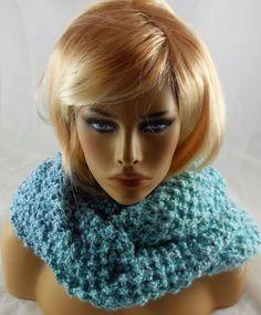 NEW handmade knit COWL INFINITY SCARF Turqouise Blue Waterfall, HOMESPUN 60 X 10 #Handmade #CowlInfinity
