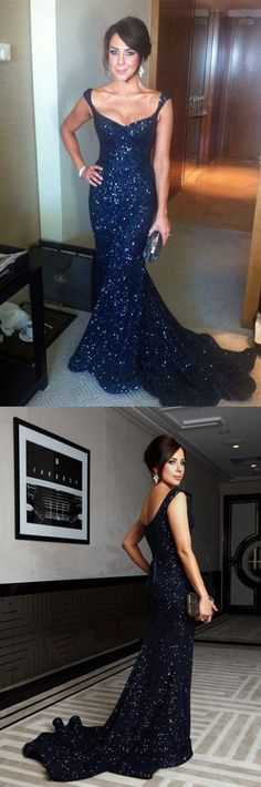 Navy Blue Sequin V-neck Mermaid Evening Gowns Court Train Prom Dress