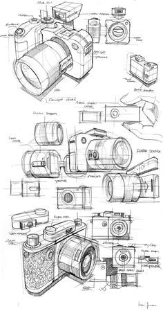 M-Tro Camera by Juan Lee, via BehanceYou can find Product sketch and more on our website.M-Tro Camera by Juan Lee, via Behance Drawing Skills, Drawing Reference, Drawing Sketches, Cool Drawings, Drawing Ideas, Drawing Drawing, Life Drawing, Camera Sketches, Camera Drawing