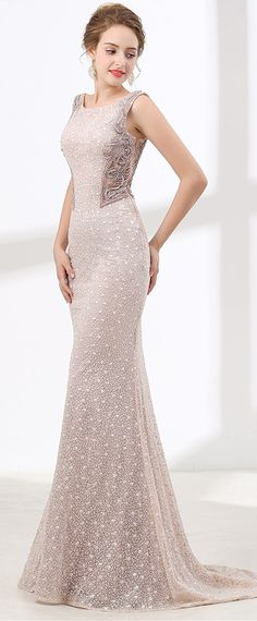 Splendid Lace Scoop Neckline Mermaid Evening Dress With Beadings & Sequins & Rhinestones