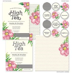 High_Tea_Party_Invitations_Food_Tags. FREE click, download and print by Lia Griffith.