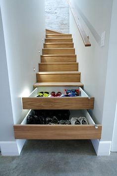Or some drawers in the stairs themselves? | 27 Genius Ways To Use The Space Under Your Stairs