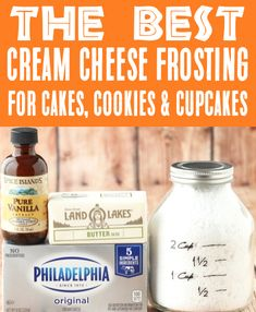 White Cream Cheese Frosting for Cakes, Cookies & Cupcakes!  All you need is 5 minutes and 4 ingredients to make the BEST frosting ever!!  Go grab the recipe and give it a try this week! Easy Summer Desserts, Fall Desserts, Christmas Desserts, Chocolate Frosting Recipes, Homemade Frosting, Yummy Recipes, Cake Recipes, Dessert Recipes, Cream Cheese Cookie Frosting