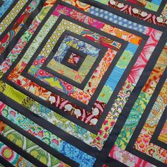 """Soulful - , I cut jelly roll strips into thirds.  I mixed it up by making 9 blocks instead of 1.  Unquilted, it measures 65"""" square"""