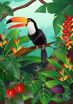 Illustration of toucan bird vector art, clip art and stock vectors. - Illustration of toucan bird vector art, clip art and stock vectors. Art Tropical, Tropical Birds, Tropical Paintings, Vogel Illustration, Jungle Art, Silk Painting, Bird Art, Vector Art, Art Clipart