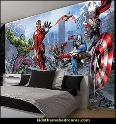 Superhero bedroom ideas - Superhero themed bedrooms - Superhero room decor - superhero bedroom decorating ideas - Superheroes bedroom ideas - Decorating ideas Avengers rooms - superhero wall murals - Comic Book bedding - marvel bedroom ideas - Superhero B Marvel Bedroom, Batman Bedroom, Bedroom Themes, Kids Bedroom, Bedroom Decor, Bedroom Ideas, Bedroom Murals, Bedroom Layouts, Wall Murals