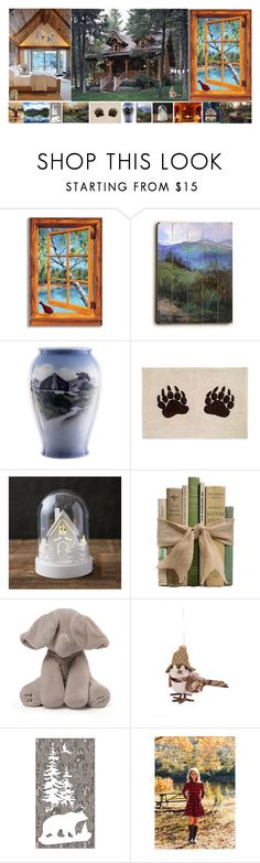 """""""Cabin 2"""" by earthkeeper ❤ liked on Polyvore featuring interior, interiors, interior design, home, home decor, interior decorating, Stupell, ArteHouse and Royal Copenhagen"""