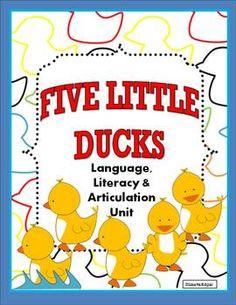 $ Five Little Ducks Unit: 15 activities to teach spatial concepts (near/far), description, categorization, final /k/, and math concepts (1-5). Includes Five Little Ducks Flip book.- adorable interactive story