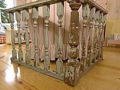 old porch railing to separate living room from dining room