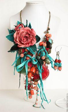 Купить комплект КОРАЛЛОВАЯ ЗИМА - тёмно-бирюзовый, бирюзовый, коралл, коралловый, розы из фоамирана