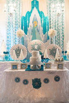 Glamorous Frozen themed birthday party via Kara's Party Ideas : Amazing Set up & backdrop