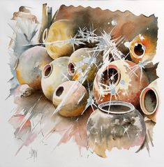 Pots of Africa Watercolour Painting, Painting & Drawing, New Fine Arts, French Artists, Beautiful Paintings, Art Boards, Still Life, Creations, Coconut