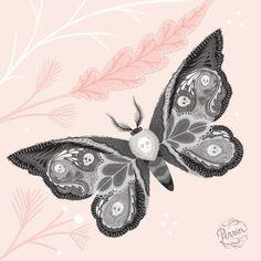 Detail of (my version of) a Death's Head Hawk Moth. Digital illustration. ©Perrin 2015 www.madebyperrin.com