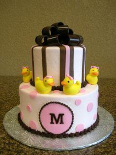 baby shower cake #girl #duck #pinkandyellow