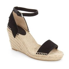 """Frye 'Lila' Espadrille Wedge, 3 1/2"""" heel (1 845 SEK) ❤ liked on Polyvore featuring shoes, sandals, black suede, black high heel sandals, wedge sandals, black ankle strap sandals, black wedge espadrilles and suede wedge sandals"""