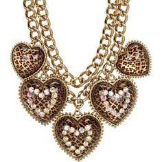 Betsey Johnson Leopard Heart Frontal Necklace #6PMStyleScore
