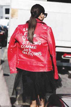 Rock 'n' Roll Style ✯ PFW AW 2015 Giovanna Battaglia. Comme De Garçons Red Biker / Tulle Skirt