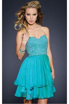 Ruffles Blue Chiffon A-line Sweetheart Short Prom Dresses