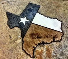 TEXAS LONE STAR FLAG TRI-TONE WOOD WALL ART