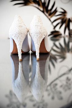 Gorgeous lacey white heels for the bride! {William Innes Photography}