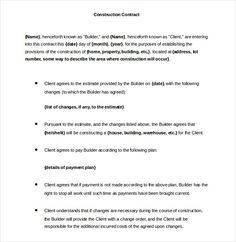 Construction Contract Agreement   Construction Contract
