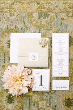Gold and Cream Wedding Invitations by Jen Simpson Design