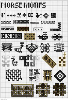 Last weekend I did an internet search for ancient Norse designs for cross stitch but only was able to find modern designs using Norse symbols. These did not have the folksy appearance that I like,… Celtic Cross Stitch, Cross Stitch Borders, Modern Cross Stitch Patterns, Cross Stitch Designs, Cross Stitching, Blackwork Embroidery, Cross Stitch Embroidery, Embroidery Patterns, Norse Symbols