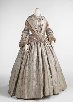 Afternoon Dress 1848 Fashionable dress of the 1840s was inspired by Queen Victoria (1819-1901) who was crowned in 1838.