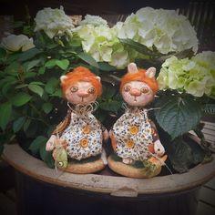 Ceramic Bunny - Ceramic Cat - Ceramic - Art Doll - Bunny - Cat - Kitty - Figure - Miniature Doll  - Pottery - Handmade - Dolls - OOAK by Rustiikkitupa on Etsy