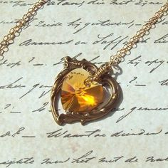 Yellow Topaz Necklace Victorian Heart by SterlingSimplicity