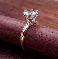 Aquamarine Crown Solitaire Rose Gold Engagement Ring Vintage / Antique Style Natural Light Blue Aqua with Pink Sapphire 14k