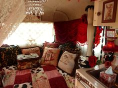Cha Cha Chicks: Purple Sisters tour Sisters on the Fly. Vintage camper. Bohemian. Love the crystal chandelier!!!