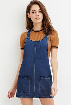 Denim Overall Dress Edgy Outfits, Winter Fashion Outfits, Outfits For Teens, Girl Outfits, Cute Outfits, Estilo Geek, Kids Frocks Design, Dungaree Dress, Denim Overall Dress