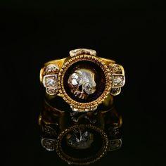 Sensational Diamond Skull Memento Mori RARE Victorian Ring