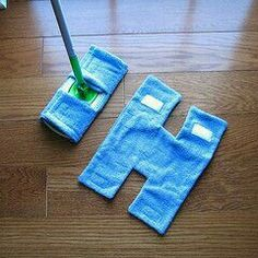 "No need to buy swiffer replacements. Just get an old hand wash towel. No need to use velcro or sew ends, could used rubber bands and attached the ""arms"" and ""legs"" of the H around the Swiffer.  G;)"